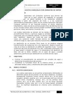 Extracción de Aceites Esenciales Por Arrastre de Vapor.