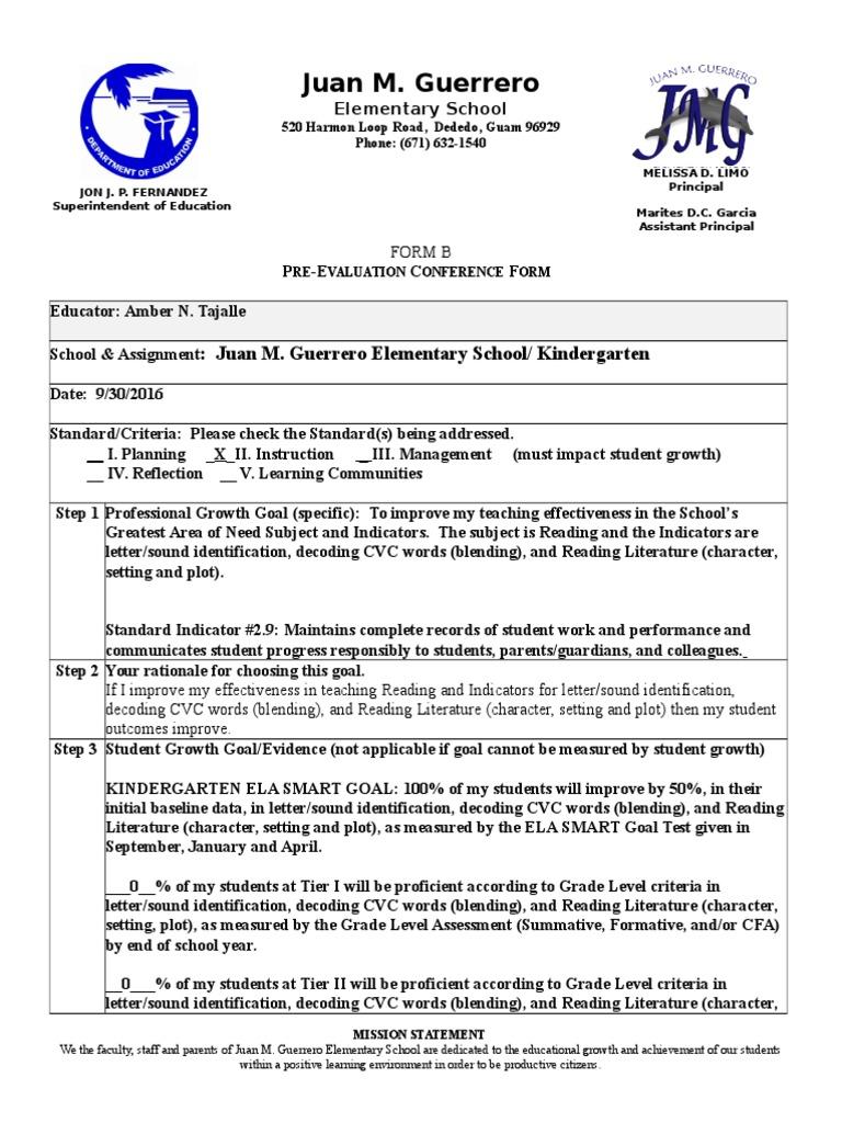 ptep form b - goal 2 9 tajalle | Educational Assessment