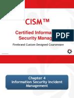 Cism Domain 4 Information Security Incident Management