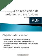 Terapia de Reposición de Volumen y Transfusional