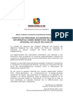 N 0692 Exitosa Campaña Informativa de Afiliación SIS en Huacho
