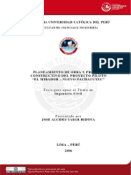 2006 Planeamiento de Obra y Proceso Constructivo Del Proyecto Piloto (El Mirador - Nuevo Pachacutec)