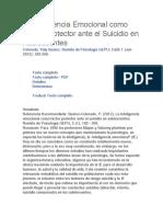 La Inteligencia Emocional Como Factor Protector Ante El Suicidio en Adolescentes