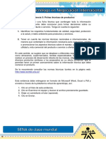 Evidencia 5. Fichas técnicas de productos