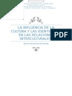 La Influencia de La Cultura y Las Identidades en Las Relaciones Interculturales