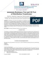 Insulation Resistance Test and Oil Test of Distribution Transformer
