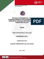 2009 Estudio Experimental Del Comportamiento Por Desempeño de Concreto Lanzado Reforzado Con Fibras Metalicas