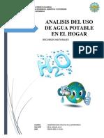 ANALISIS DEL USO DEL AGUA POTABLE EN EL HOGAR DURANTE 3 MESES