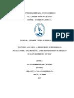 t046 47856634 Factores Asociados Al Resangrado de Hemorragia Subaracnoidea Aneurismática en El Hospital Belén de Trujillo Durante El Periodo 2007 2016