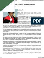 Malaysian Civil Law Need to Revert to Islamic Civil Law