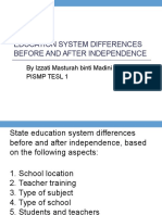 Education System Differences Before and After Independence