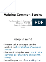 Chapter 7 the Value of Common Stocks