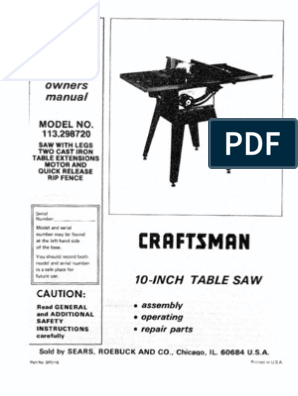 Manual, Craftsman Table Saw, Model 113-298720 and 750
