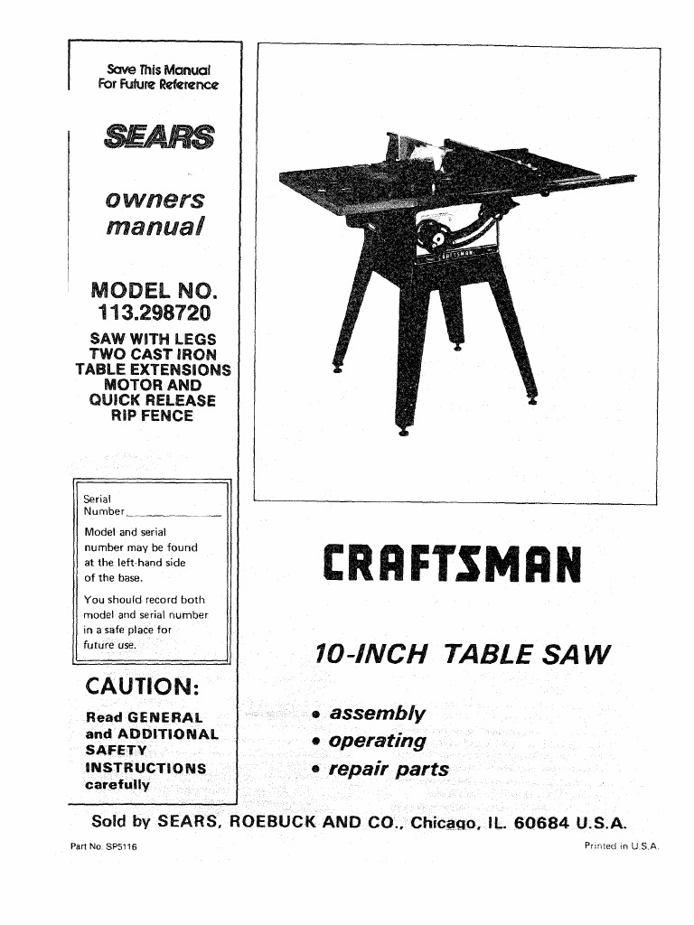 manual craftsman table saw model 113 298720 and 750 screw rh scribd com Craftsman Table Saw Parts Model Craftsman Table Saw Manual PDF