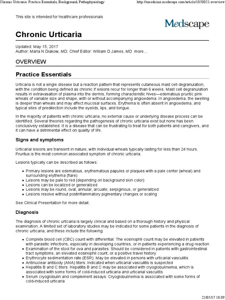 Chronic Urticaria_ Practice Essentials, Background