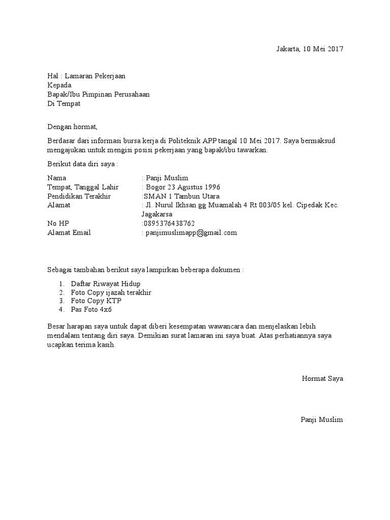 Contoh Surat Lamaran Kerja Tanpa Nama Perusahaan