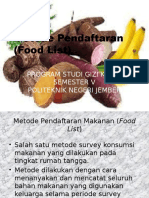 Metode Pendaftaran (Food List)