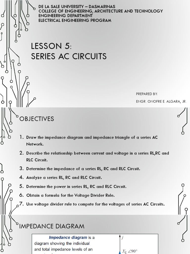 Lecture 05 Series Ac Circuits Voltage Divider Formula