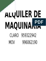 Alquiler de Maquinaria