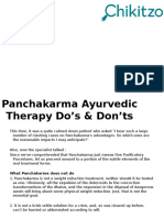 Panchakarma Ayurvedic Therapy Do's & Don'Ts