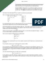 Algebra - Polynomials