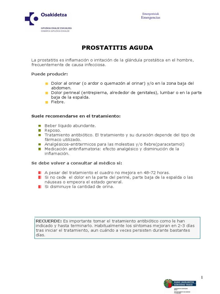 La prostatitis y la disminución de las causas de orina en el gueto