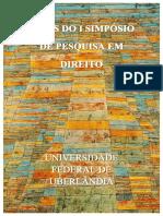 Anais do I Simposio de Pesquisa em Direito na Revista Horizonte Científico