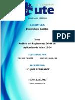 Analisis Del Reglamento 06-04 de Aplicación de La Ley 10-04