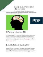 6 Vitaminas y Minerales Que Mejoran Tu Cerebro