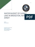 evaluation of sunset lake