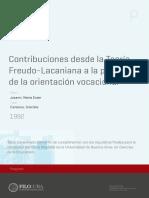 Contribuciones Desde La Teoría Freudo-Lacaniana a La Práctica de La Orientación Vocacional.