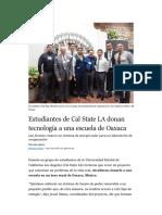 Estudiantes de Cal State LA donan tecnología a escuela de Oaxaca