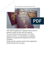 Irish Citizens Applying for a Passport Will Be Required to Produce ID Cards