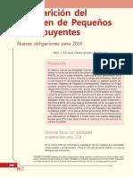 582 Desaparición Del Régimen de Pequeños Contribuyentes. Nuevas Obligaciones Para 2014