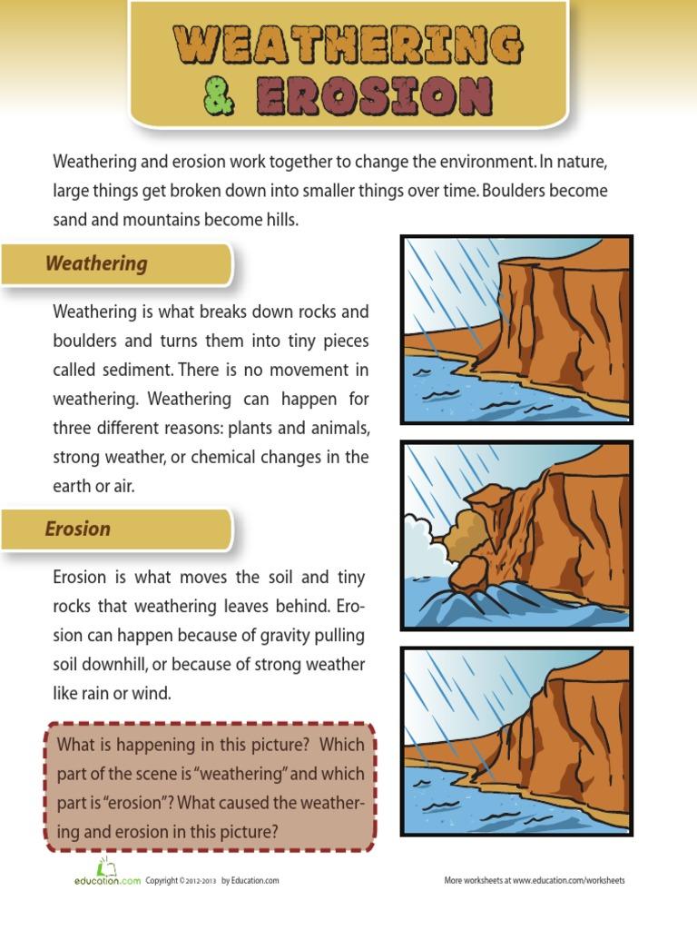 worksheet Erosion Worksheets weathering and erosion