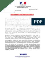 Communique Du Haut-commissaire Relatif a La Grève Des Pompiers d'Adt