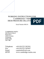 Cambridge 73mm High Pressure Dilatometer - Working Instructions