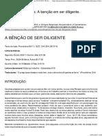 Estudo EBD. Tema_ a Benção Em Ser Diligente. Dia_ 02.02.2013 _ Pr Josias Moura