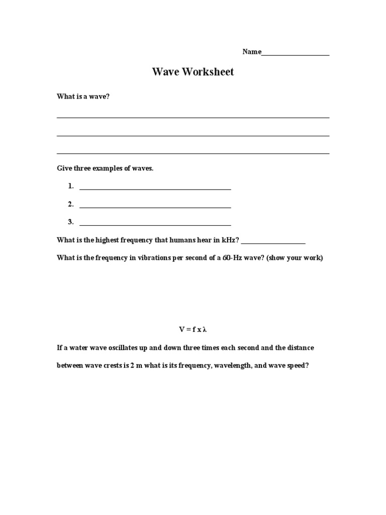 Worksheets Wave Speed Worksheet wave worksheet 1