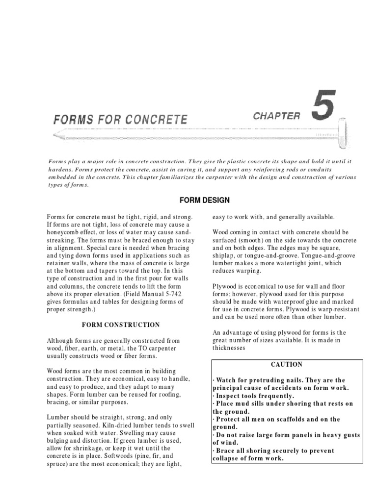 Forms Concrete Army FM5-426 | Lumber | Concrete