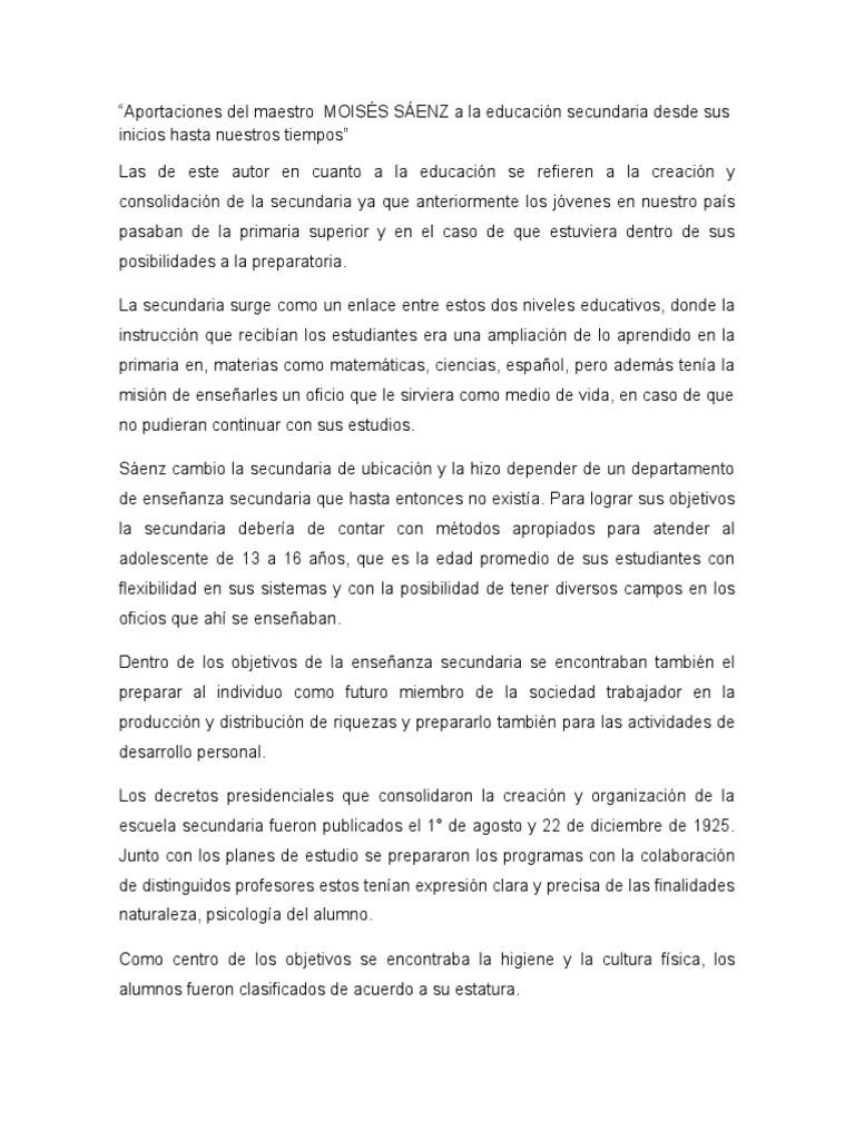 Aportaciones Del Maestro MOISÉS SÁENZ a La Educación Secundaria ...