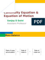Continuity Equation and Equation of Motion
