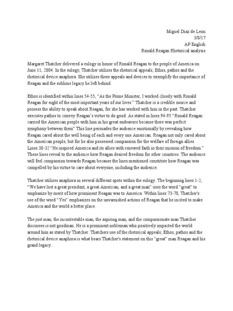Reagan Eulogy Analysis Ronald Reagan Margaret Thatcher