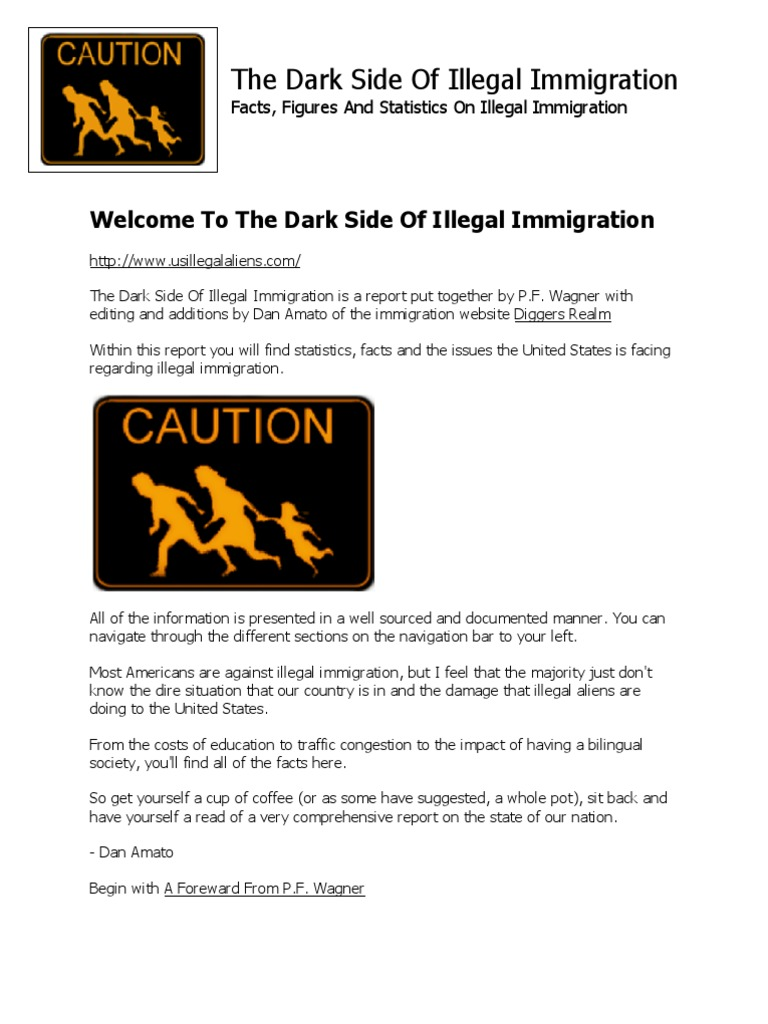The Dark Side Of Illegal Immigration Wagner Illegal Immigration To The United States United States Government