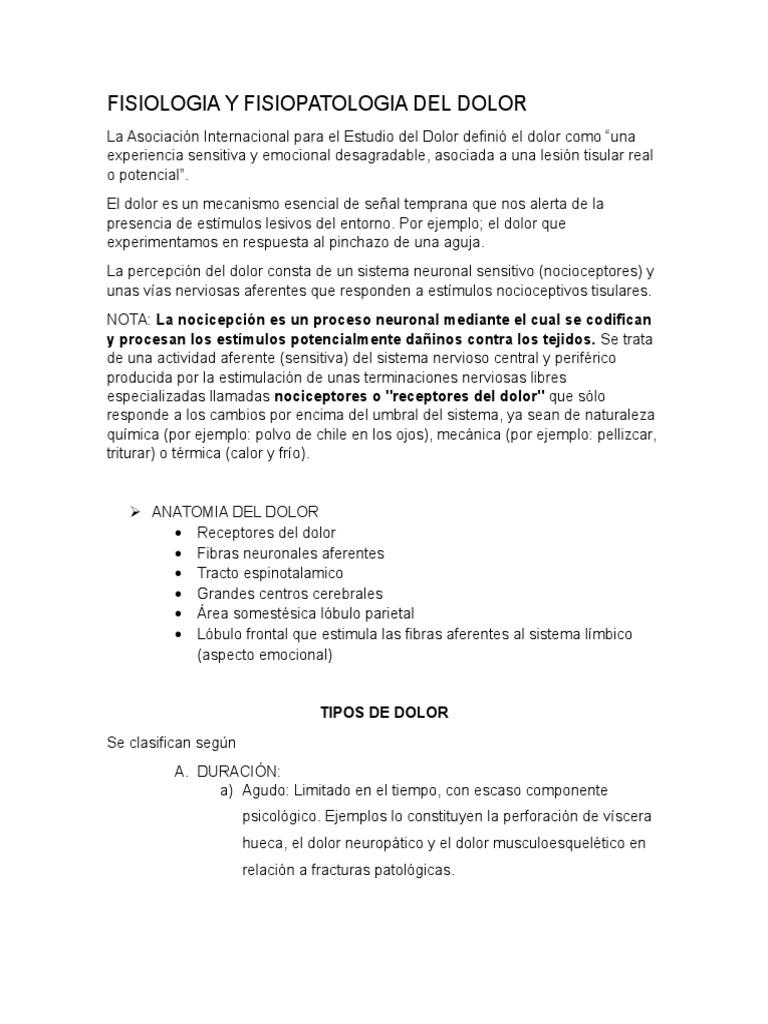 Fisiologia y Fisiopatologia Del Dolor