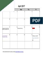 English 84 Calendar April