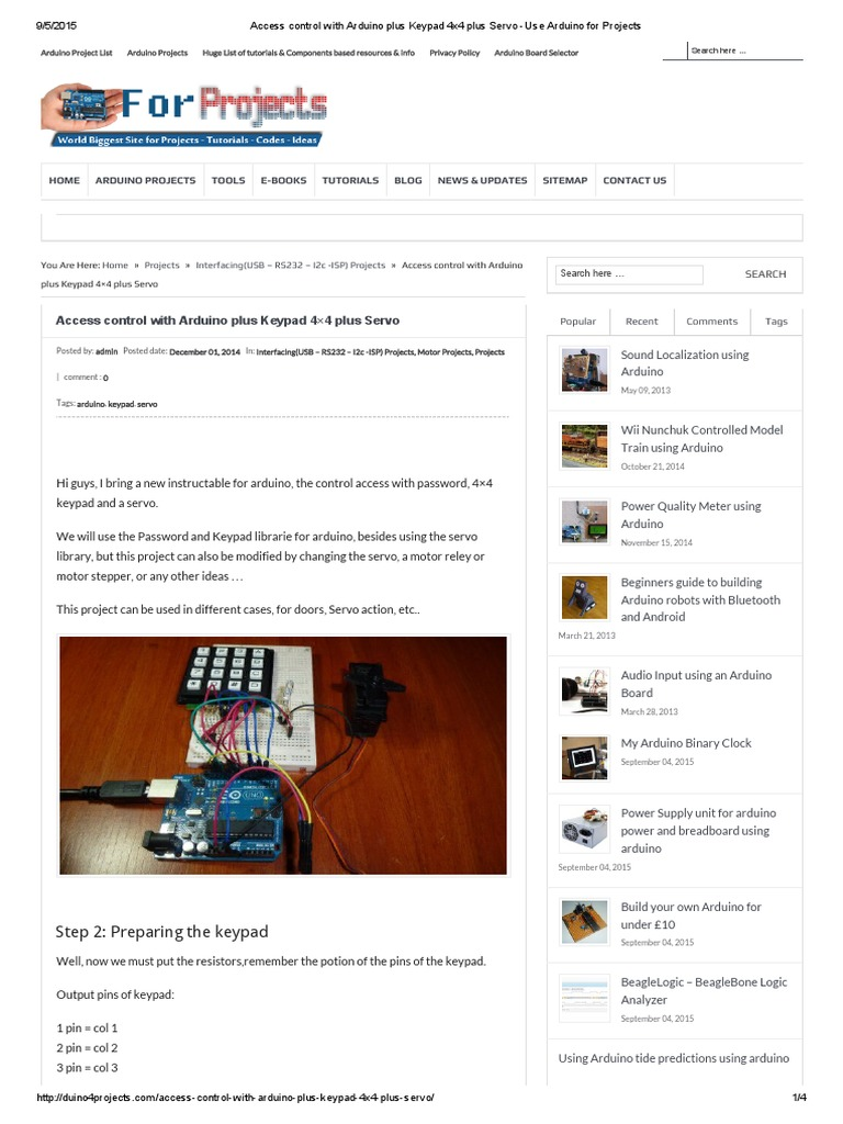 Access Control With Arduino Plus Keypad 4x4 Plus Servo -Use