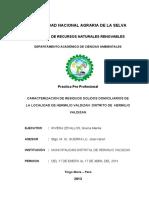 Caracterizacion de Residuos Solidos Domiciliarios de La Localidad de Hermilio Valdizan