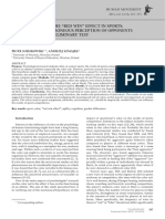 [Human Movement] the Influence of the Red Win Effect in Sports a Hypothesis of Erroneous Perception of Opponents Dressed in Red - Preliminary Test