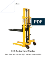 Operating Instructions Hand Stacker Silverstone EB1025 Stivuitor Manual